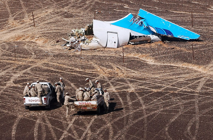 The site of Russian Airbus A321 crash in Egypt's Sinai Peninsula near El Arish city