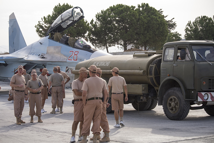 Russian air force personnel at Hmeymim air base near Syria's Latakia