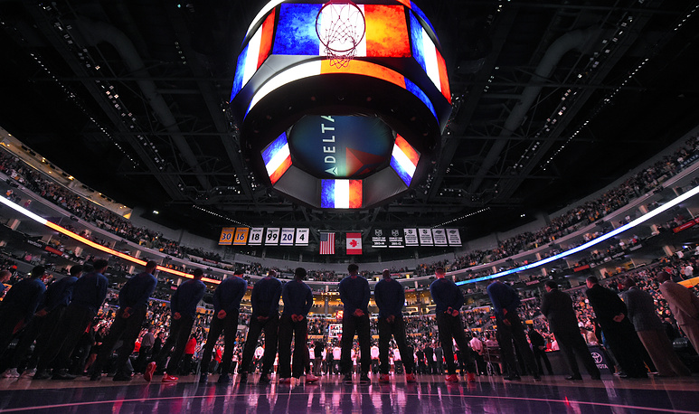 French national anthem played prior to an NBA basketball game in Los Angeles, USA