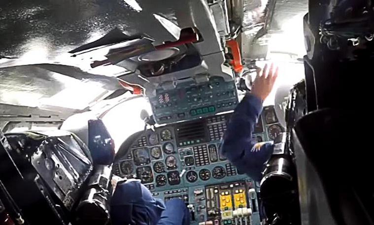 A cockpit of Russia's long-range strategic bomber
