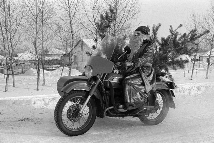 Grandfather Frost driving a motorbike, Omsk region, 1987