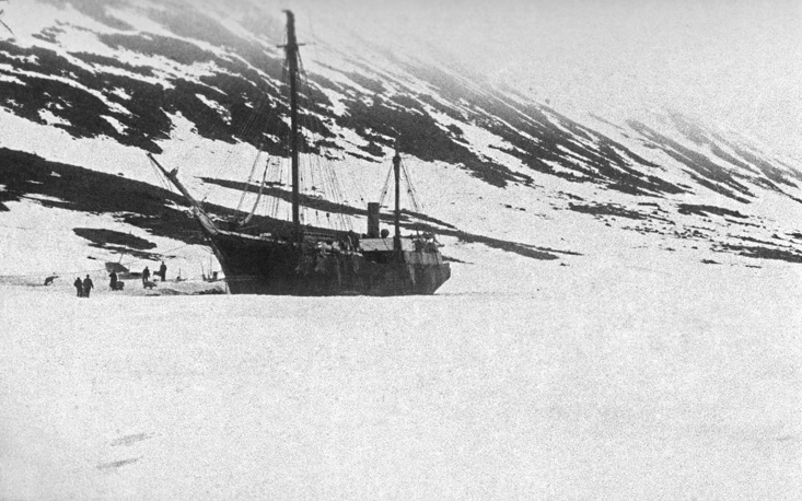 Franz Josef Land. The Svyatoy Foka (Saint Martyr Foka) vessel owned by Russian Arctic explorer Georgy Sedov, 1914