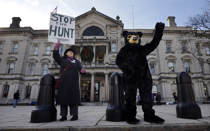 Members of Friends of Animals, an animal rights group, protesting legal bear hunt in USA
