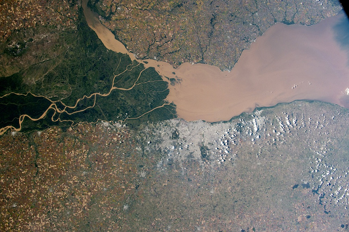 Parana River on the Atlantic coast of Argentina