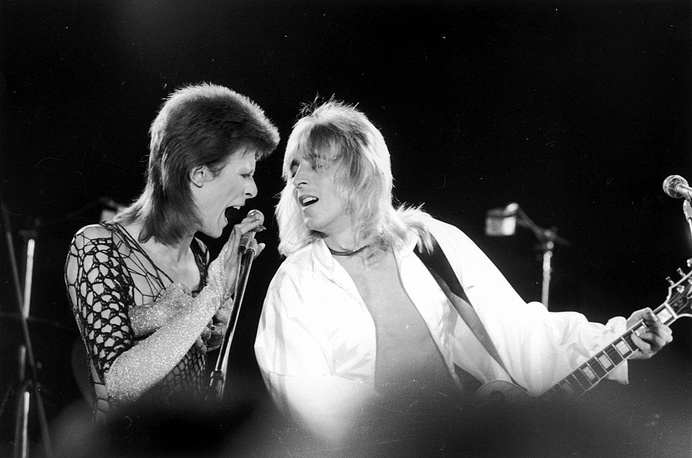 With guitarist Mick Ronson, 1973