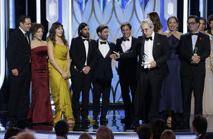 "Roman Coppola, foreground, accepting the award for best TV comedy series for ""Mozart in the Jungle"""