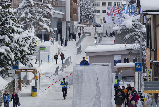 Security zone at the congress center in Davos