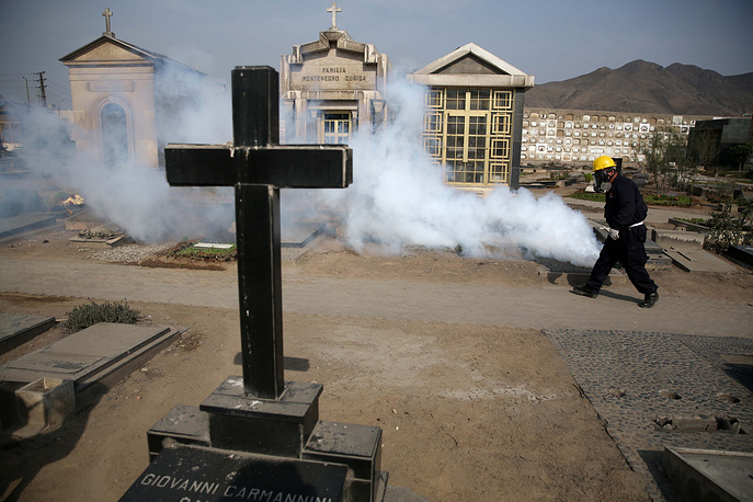 A health worker fumigating to prevent Dengue, Chikunguya and Zika virus, at El Angel cemetery, in Lima, Peru