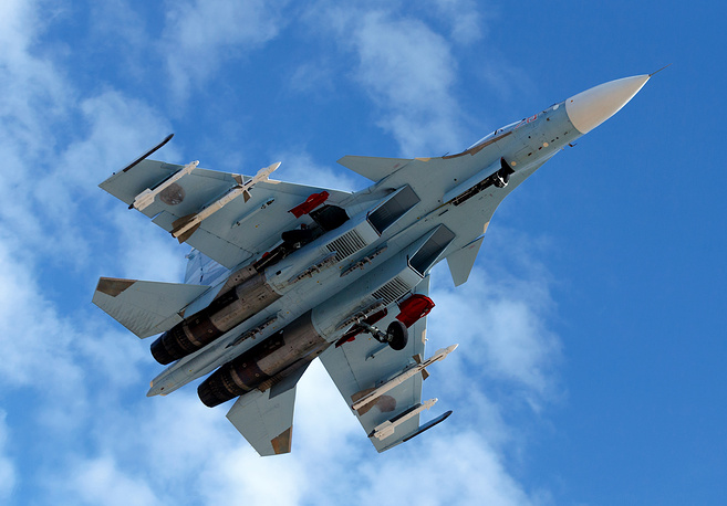 Russia's Sukhoi Su-30SM aircraft in the sky above Syria's Latakia