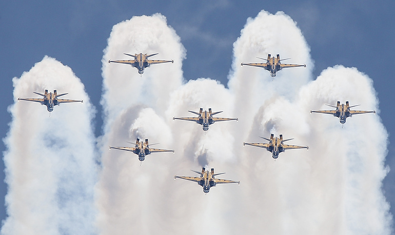 A formation of T-50 fighter jets, flown by the South Korean Black Eagles aerial acrobatic team