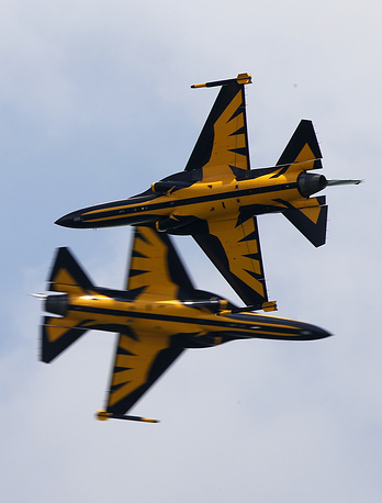 T-50 fighter jets, flown by the South Korean Black Eagles aerial acrobatic team