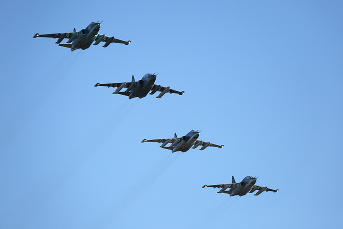 Russian Aerospace Force Sukhoi Su 25 attack aircraft returning to a military installation in the Krasnodar Territory from Syria