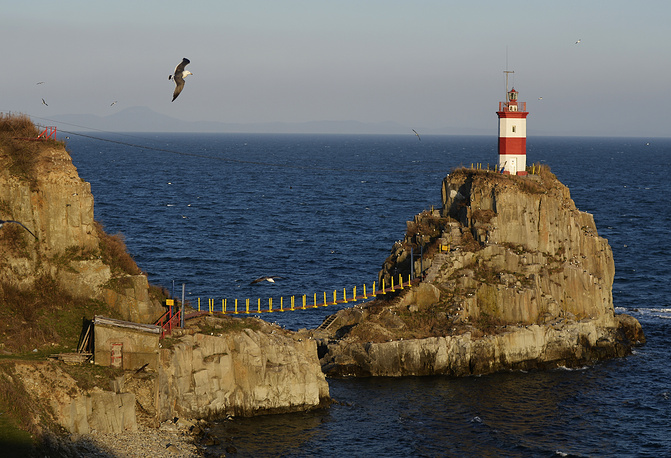 Basargin lighthouse stands at the main sea gates of Vladivostok and is one of the city's most recognizable symbols