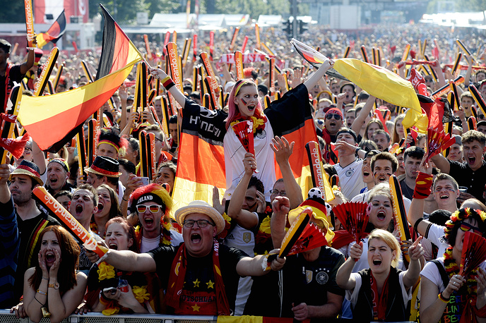 German fans watching the Euro 2016 match between Germany and Northern Ireland, 21 June 2016