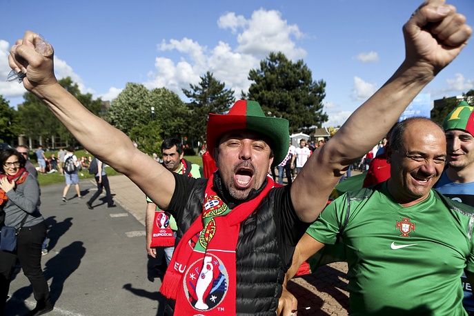 Portuguese fans seen after the match between Croatia and Portugal, 25 June 2016