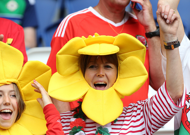 Welsh fans the Euro 2016  football match against Northern Ireland, 25 June 2016