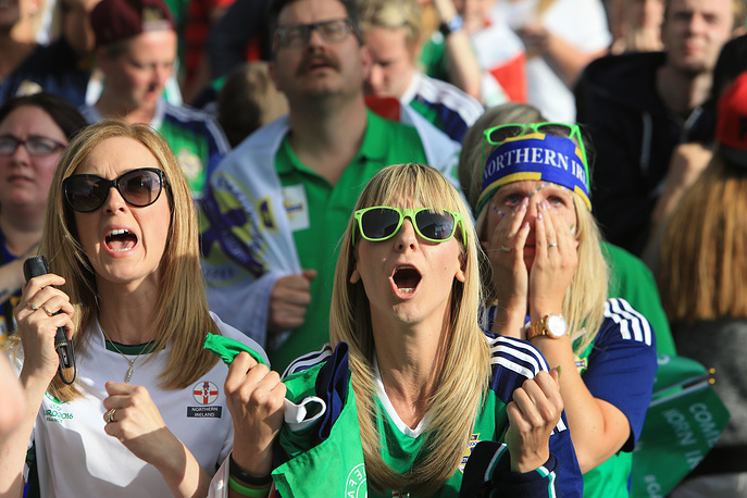 Northern Ireland fans watching their team facing Wales in the Euro 2016 , 25 June 2016