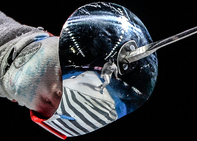 Sports (series). Standoff. The 2015 World Fencing Championships in Moscow. Photo: Aleksandra Socha's (Poland) handguard during the third place match against Ibtihaj Muhammad (USA) at the women's team saber competition