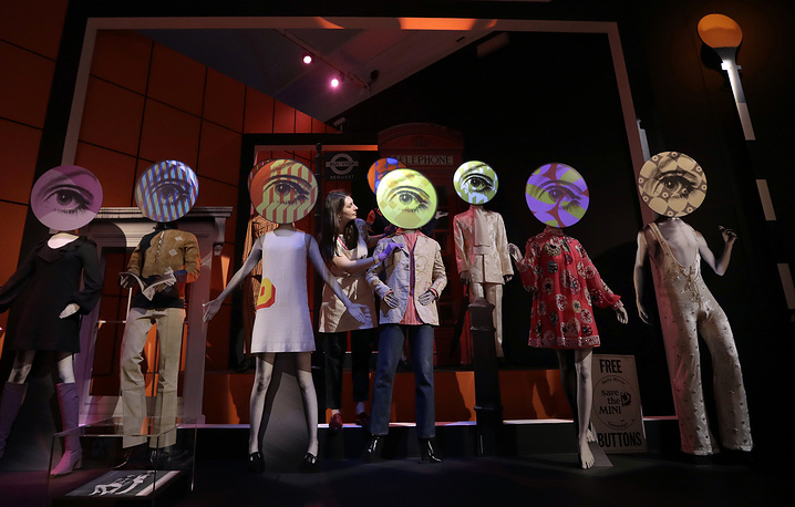 A display of clothing during a media opportunity at the 'You Say You Want a Revolution? Records and Rebels 1966-70' exhibition at the V&A museum in London, September 7
