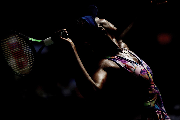 Venus Williams seen during her fourth round Women's Singles match at the 2016 US Open, New York, September 5