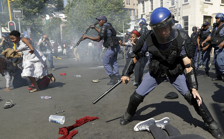 Students protest for free education in Johannesburg, South Africa, September 21