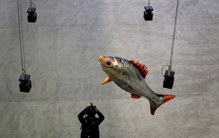 A fish balloon, part of the new commission entitled 'Anywhen' by French artist Philippe Parreno, in the Turbine Hall at the Tate Modern in London, October 3