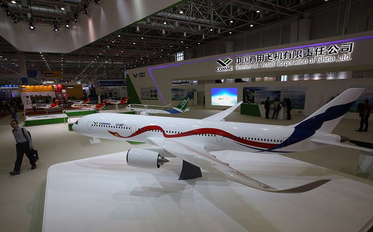 A model of an aricraft designed as part of a joint project by the Commercial Aircraft Corporation of China (COMAC) and Russia's United Aircraft Corporation (UAC)