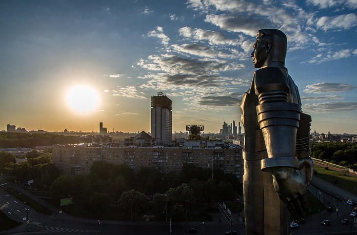 Monument to the first Russian cosmonaut Yuri Gagarin in Moscow
