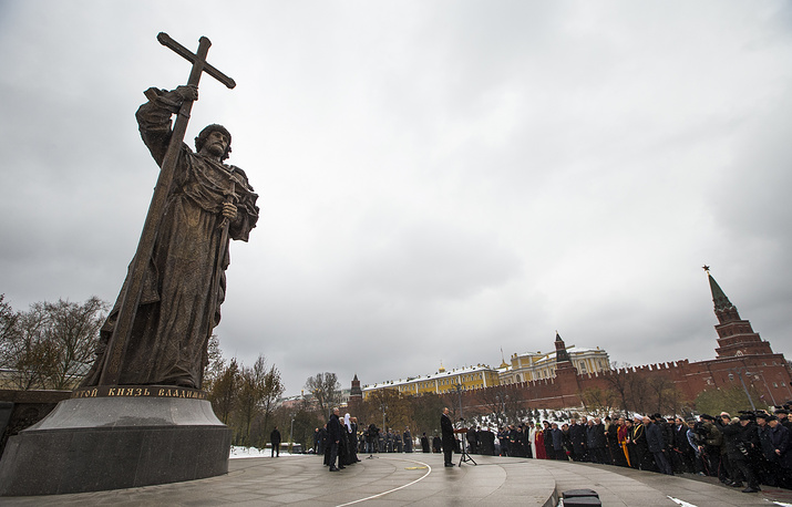A monument to Vladimir the Great outside the Kremlin in Moscow