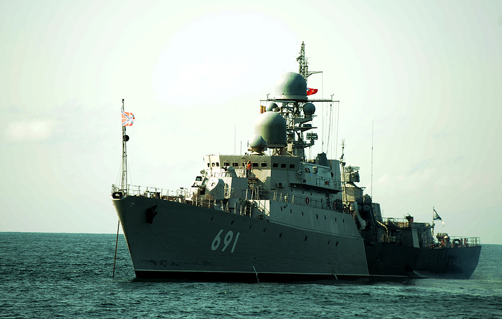 The flagship of the Caspian Flotilla frigate Tatarstan