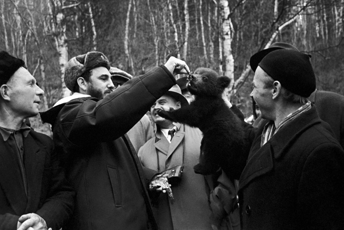 Fidel Castro feeding a bear cub in Irkutsk region, 1963