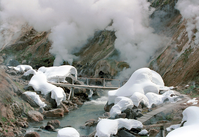 Valley of Geysers in the Kronotsky State Biosphere Nature Reserve on Kamchatka peninsula