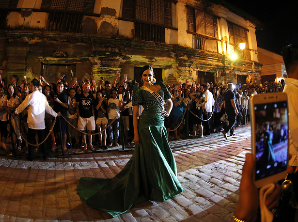 Violina Ancheva from Bulgaria participates in a fashion show in Vigan, Philippines