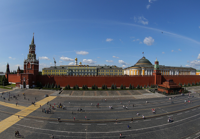 The Kremlin Senate, a yellow building within the grounds of the Moscow Kremlin in Russia, houses the Russian presidential administration and is official residence of Russian President