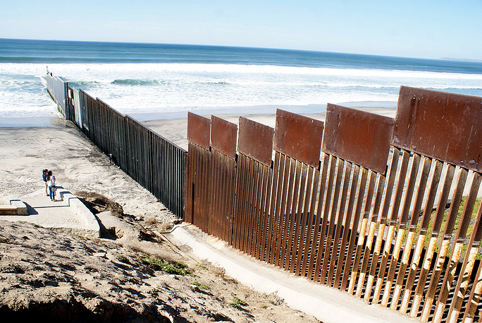 General view of the fence in Tijuana, Mexico, on the US-Mexico border