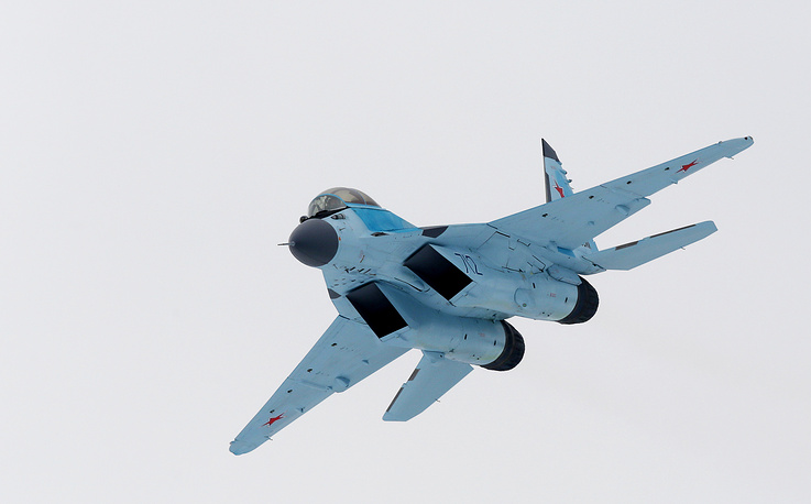 The new Mikoyan MiG-35 multirole fighter jet performing a demonstration flight
