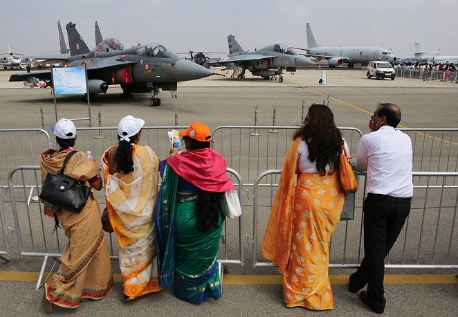 People at the Aero India 2017, an air show and aviation exhibition
