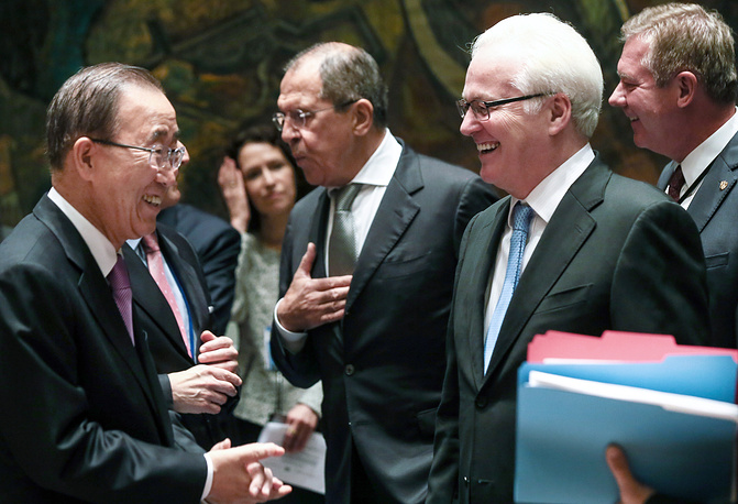 UN Secretary General Ban Ki-moon, Russia's Foreign Minister Sergei Lavrov, and Russia's Permanent Representative to the UN Vitaly Churkin at the UN Security Council ministerial meeting, 2015