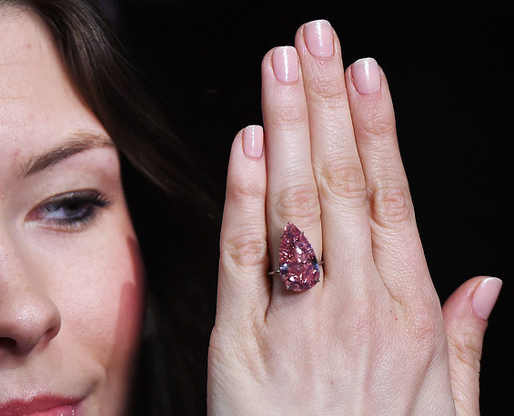 A nameless vivid pink pear-shaped diamond was sold at Sotheby's in Geneva for $31.5 mln on May 17, 2016. Media reports said the 15.38-carat gemstone was purchased by an Asian customer