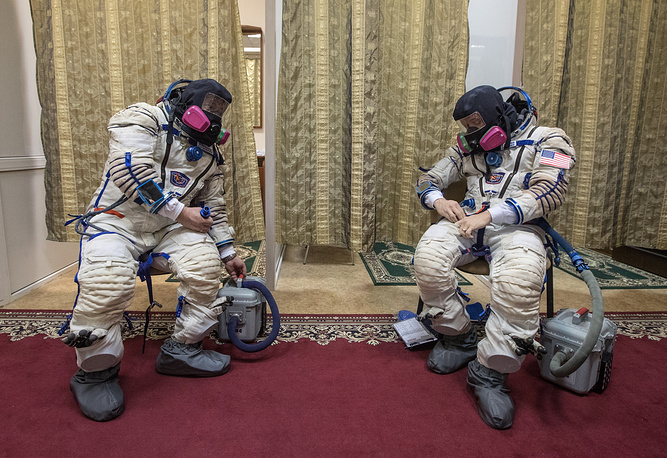 The International Space Station Expedition 51/52 crew members, Russian cosmonaut Fedor Yurchikhin and NASA astronaut Jack Fischer preparing for training at the Yuri Gagarin Cosmonaut Training Centre (GCTC)