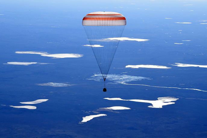 Russia's Soyuz MS-02 space capsule carrying the International Space Station Expedition 50 of Russian cosmonauts Sergey Ryzhikov and Andrey Borisenko and US astronaut Shane Kimbrough lands in a remote area in  Kazakhstan, April 10