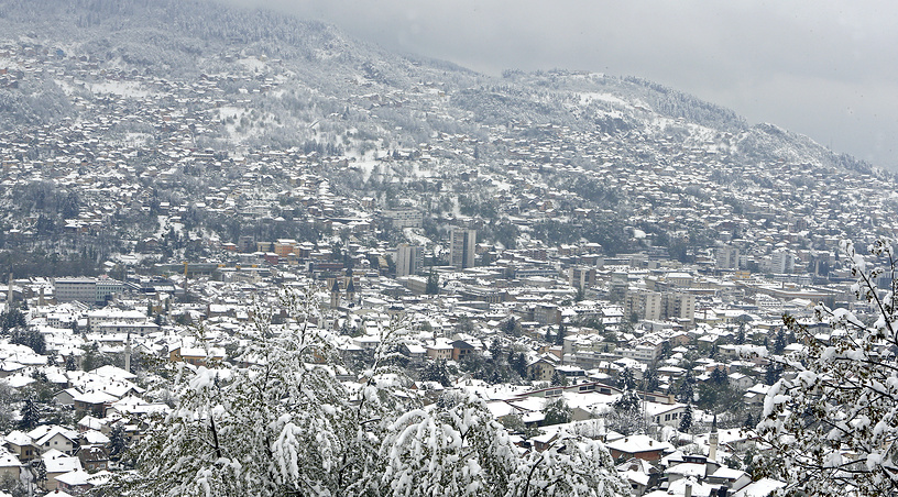 A general view over the snow-covered landscape and city of Sarajevo, Bosnia and Herzegovina, April 19
