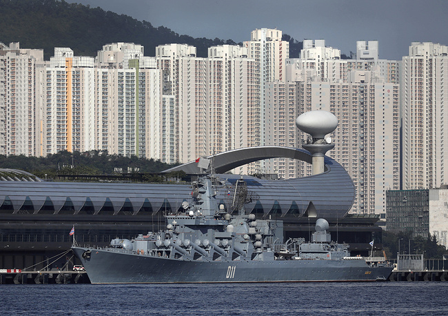 Russian Navy's Slava-class guided missile cruiser Varyag, the flagship of the Russian Pacific Fleet, docked at Kai Tak Cruise Terminal for an unofficial five-day visit to Hong Kong, June 5