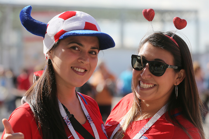 Supporters of Chile before a 2017 FIFA Confederations Cup First Group B football match between Chile and Australia at Spartak Stadium in Moscow