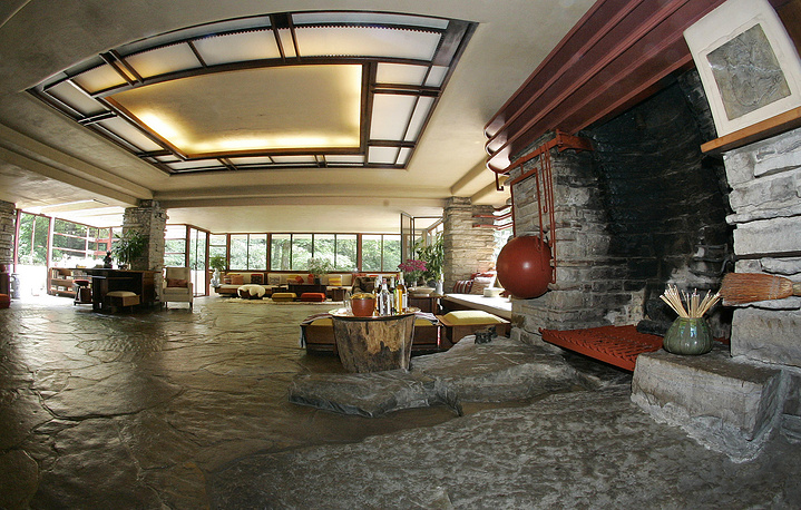 The living room in Fallingwater house. It is one of Frank Lloyd Wright's best-known works