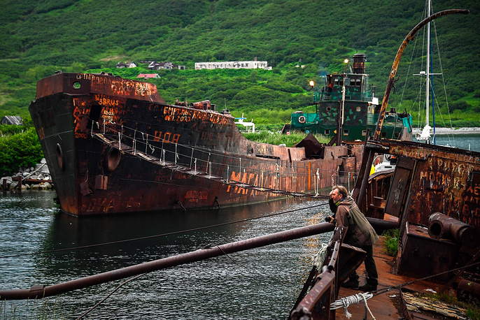 Ghost ships in the Russkaya Bay of the Avacha Gulf on the south-eastern coast of the Kamchatka Peninsula
