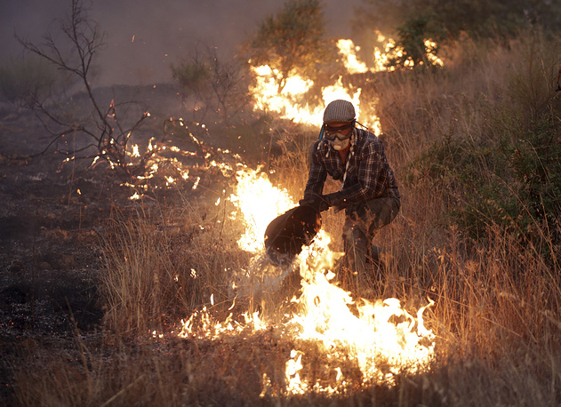 A man uses a bucket to fight a fire in a field outside the village of Sao Jose das Matas, near Macao, Portugal