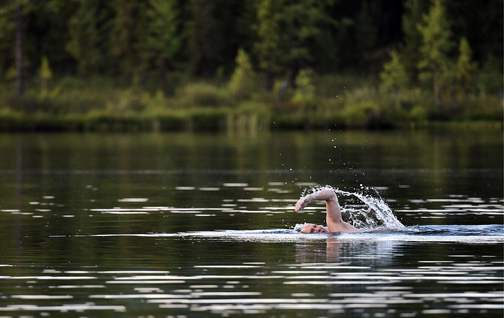 """The temperature of water in the lakes seldom goes above 17 degrees Celsius, but """"it did not hold back the president from taking a swim"""", Kremlin spokesman Dmitry Peskov said"""