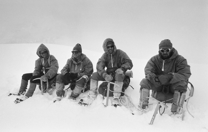 Members of the future expedition in the Himalayas: Valery Khomutov (Moscow), trainer and supervisor Eduard Myslovsky (Moscow), Alexei Moskaltsov (Kiev), Huto Khergiani (Georgia) training at Pamir mountains, 1981