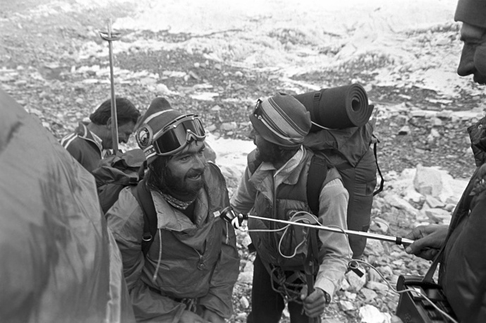 Mikhail Turkevich (front), one of the first four men to climb Mount Everest during the first Soviet expedition, 1982